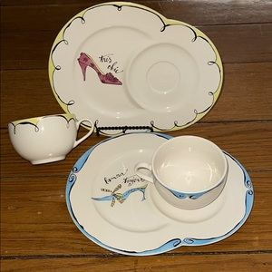 Dessert plate with shoe design with teacup holder